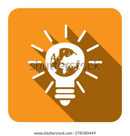 Yellow Light Bulb With Earth Flat Long Shadow Style Icon, Label, Sticker, Sign or Banner Isolated on White Background