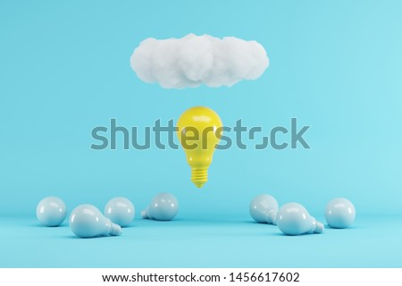 Yellow Lightbulb floating with cloud above blue lightbulbs on blue background. minimal creative idea concept. 3D render.