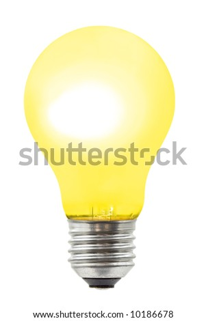 Yellow lighting lamp, isolated on white background