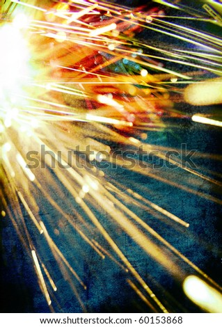 yellow lights and rays on the blue background - stock photo