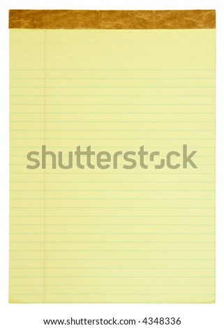 Yellow lined legal notepad.