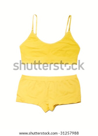 Yellow lingerie on the white background