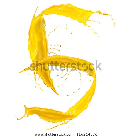 yellow Liquid alphabet number 5