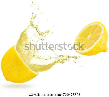 yellow liquid spilling out of a lemon isolated on white
