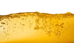 Yellow liquid with bubbles