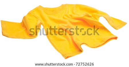 Yellow Long Sleeve Tee Shirt Isolated on White with a Clipping Path. - stock photo