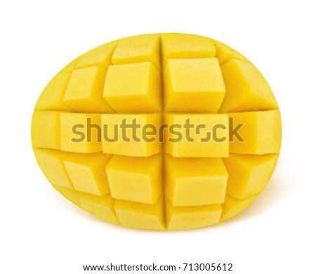 Popular free mango hedgehog style cut ripe mango half on a white detail yellow mango isolated on a white detailed retouch 713005612 ccuart Choice Image