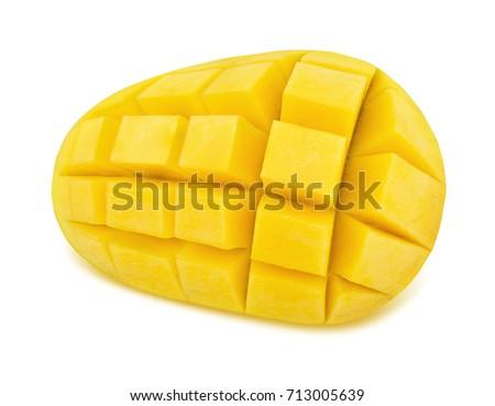 Newest free mango hedgehog style cut ripe mango half on a white yellow mango isolated on a white detailed retouch 713005639 ccuart Choice Image