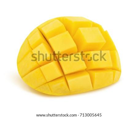 Popular free mango hedgehog style cut ripe mango half on a white detail yellow mango isolated on a white detailed retouch 713005645 ccuart Choice Image