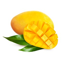 Yellow mango with leaves isolated on white background