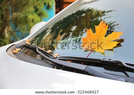 Yellow maple leaf pressed by wipers on windshield of car close up. Autumn. Shallow depth of field, focus on maple