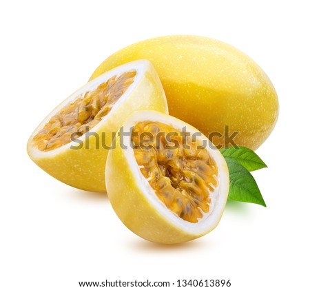 Yellow maracuya (passion fruit) isolated on white background. Clipping path