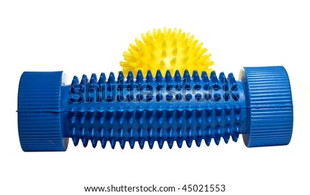 Yellow massage ball with a blue foot massager.