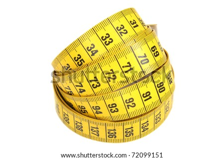 Yellow measuring tape isolated on a white background