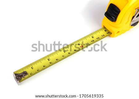 Yellow measuring tape isolated on white background, 6in. ストックフォト ©