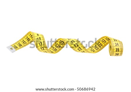 Yellow measuring tape of the tailor isolated on white