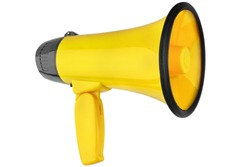Yellow megaphone on white background isolated close up, hand loudspeaker design, loud-hailer or speaking trumpet, yellow press symbol, gutter press sign, tabloid or journalism icon, media illustration