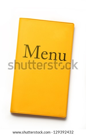 Yellow menu book on white