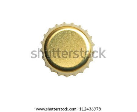 Yellow metal bottle cap on white background. Isolated with clipping path