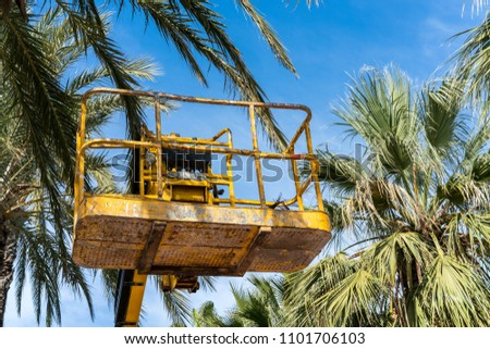 Yellow metal hydraulic lift platform with safety railings (cherry picker) covered in paint and dents. High amongst palm trees against a clear blue sky.
