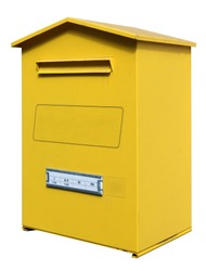 Yellow metal mail box isolated on white
