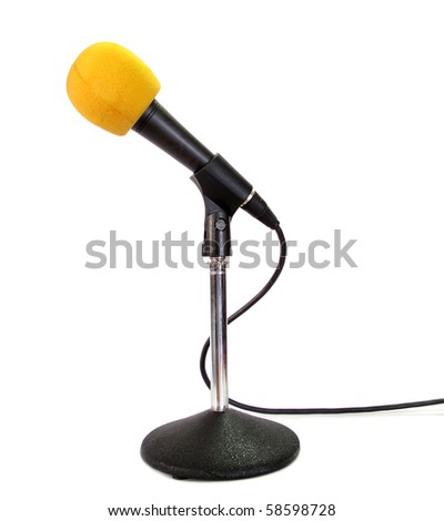 Yellow microphone isolated on white background