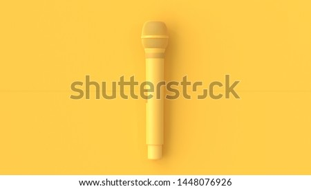 Yellow Microphone music background. minimal idea concept,3D Render.