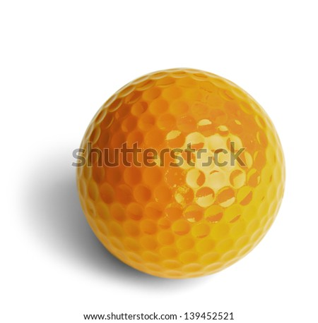 Yellow Miniature Golf Ball Isolated On White Background.