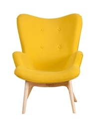Yellow modern chair isolated on white background