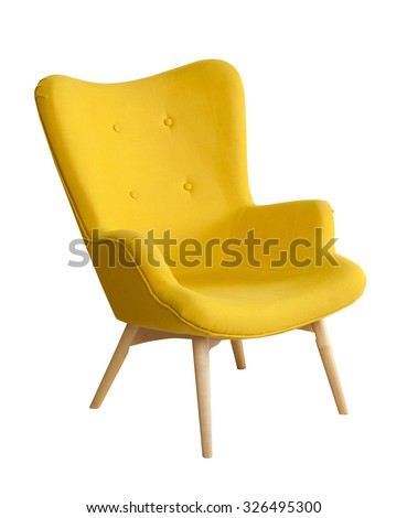Yellow modern chair isolated on white background #326495300