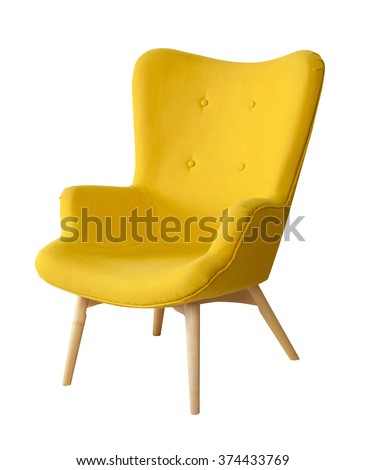 Yellow modern chair isolated on white background - Shutterstock ID 374433769