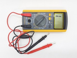 Yellow Modern Digital Electronic Multi Meter with Ohm Ampere Volt and Watt Measurement with Red and Black Probe in White Isolated Background