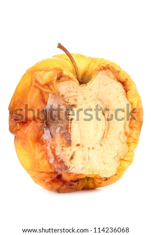 yellow moldy apple as concept of skin problems, isolated on white