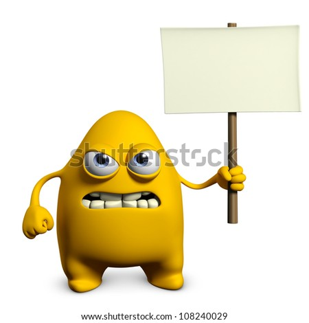 yellow monster holding empty placard