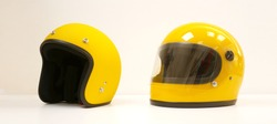 Yellow motorcycle Full helmet and Open face helmet on a white background
