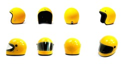 Yellow motorcycle Full helmet and Open face helmet on a white background, side back front