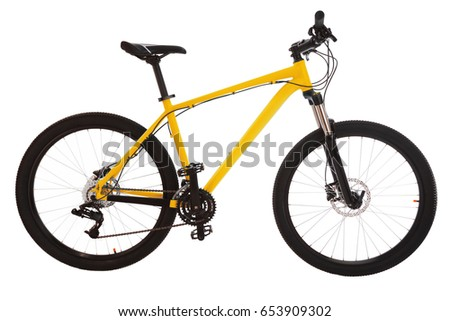 Yellow mountain bike isolated on white background. #653909302