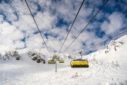 yellow mountain lift, mountain view