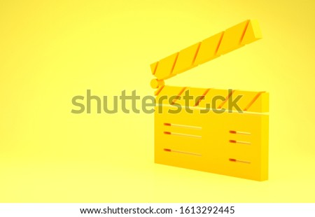 Yellow Movie clapper icon isolated on yellow background. Film clapper board. Clapperboard sign. Cinema production or media industry concept. Minimalism concept. 3d illustration 3D render