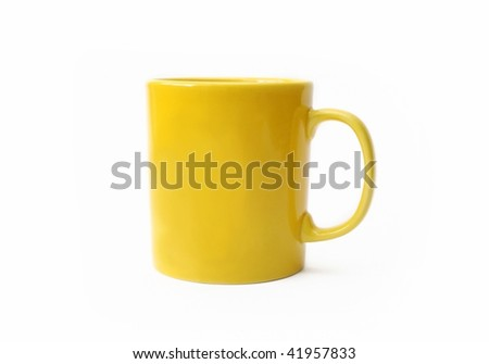 Yellow mug isolated on white