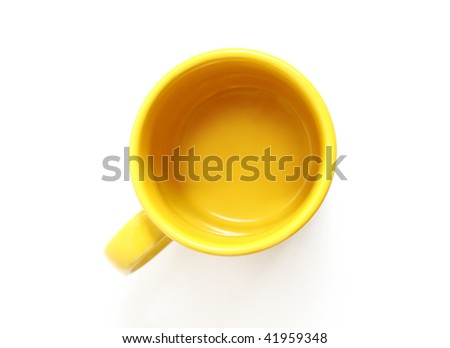Yellow mug, the top view, isolated on white background