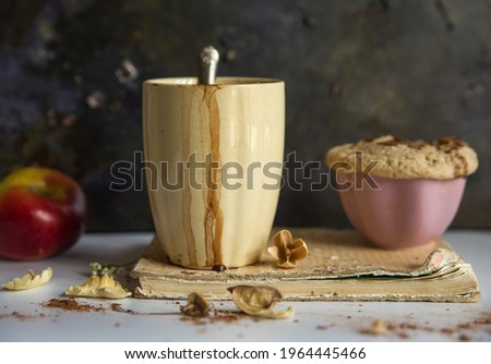 yellow mug with hot chocolate and muffin Stock fotó ©