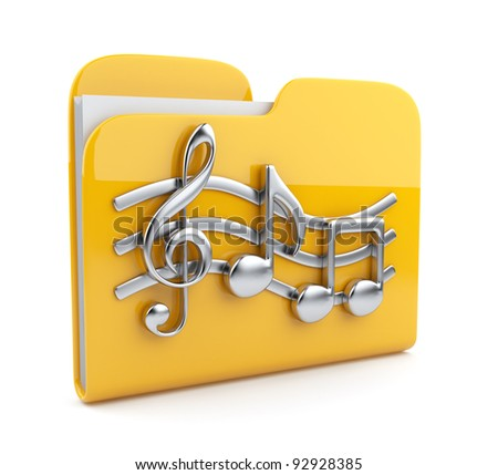 Yellow music folder with note symbols.  Icon 3D. Isolated on white background - stock photo