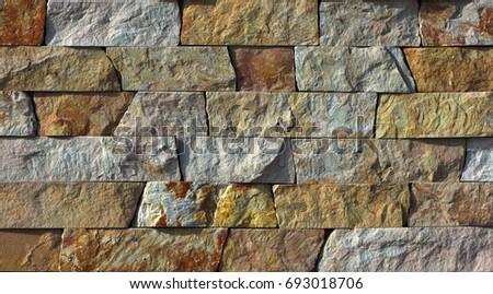 Yellow Natural Stone Facade Wall Tiles Texture Background Ez Canvas