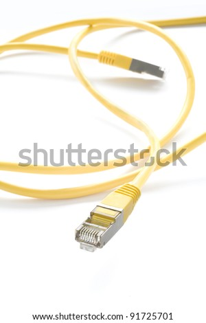 yellow network cable, isolated on white background