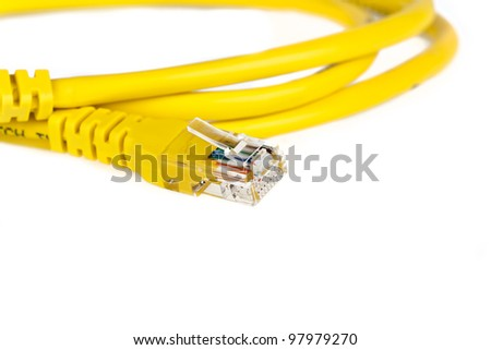 Yellow network cable isolated on white background