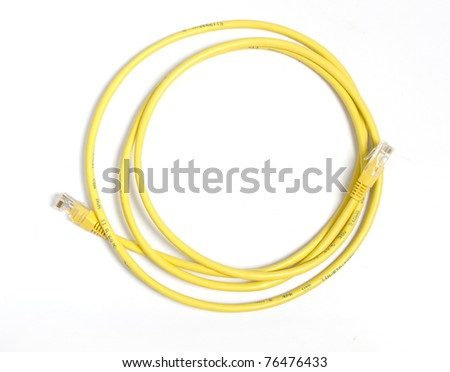 Yellow network cable with RJ-45 connector