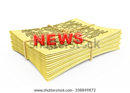 yellow newspaper isolated on a white background