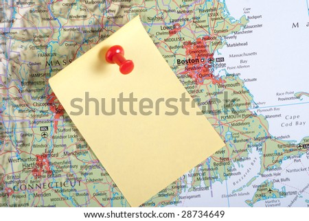 Yellow Note and red pin on map of Boston