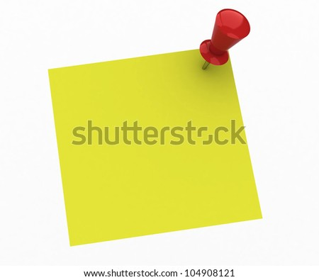 Yellow note and red push pin isolated on white background